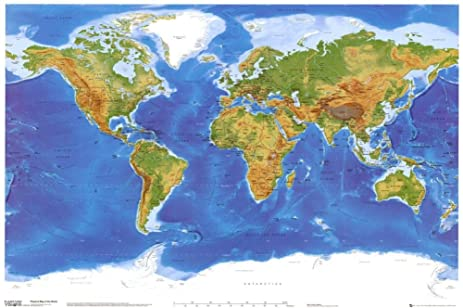 Amazon satellite physical map of the world poster 36 x 24in satellite physical map of the world poster 36 x 24in gumiabroncs