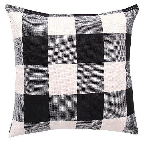 Pillow Checkered (famibay Pillow Cover, Home Decor Square Tartan Cotton Linen Throw Pillow Case Retro Checkered Plaids Pillowcase Cover for Sofa 18 x 18 Inch (White and Black))