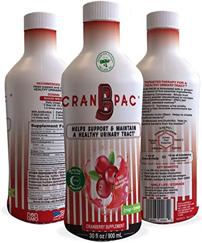 Nutritional Designs Cran-B-PAC – All Natural Non GMO Cranberry Concentrate Liquid w Low Sugar Vitamins – High Concentration Juice Supplement for Urinary Tract Health for Men Women