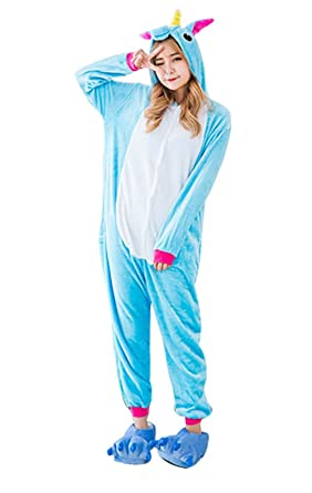 Obtai Onesie Unicorn Kigurumi Cosplay Costume Animal Pajamas Nightwear Halloween Jumpsuits for Adult and Kids (
