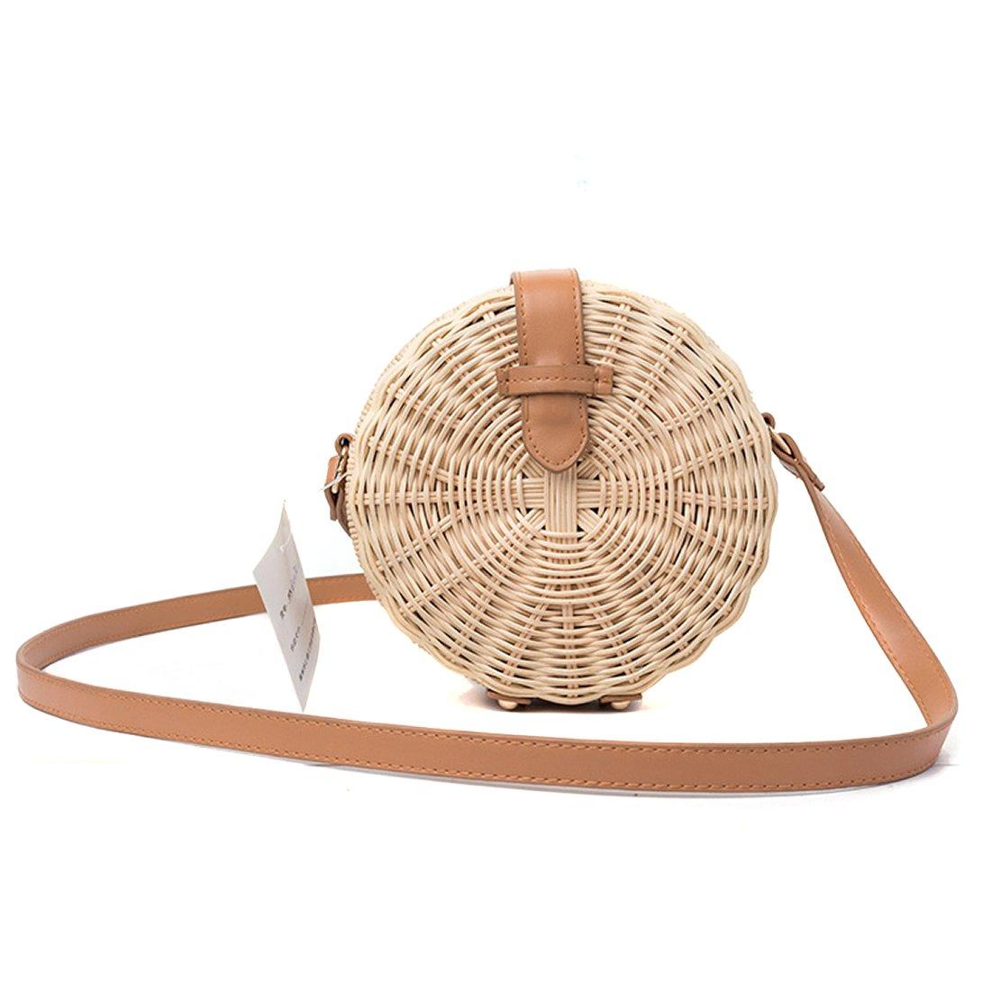 Round Straw Purse and Handbag Circle Rattan Ata Crossbody Bag Summer Beach Sea Shoulder Bag