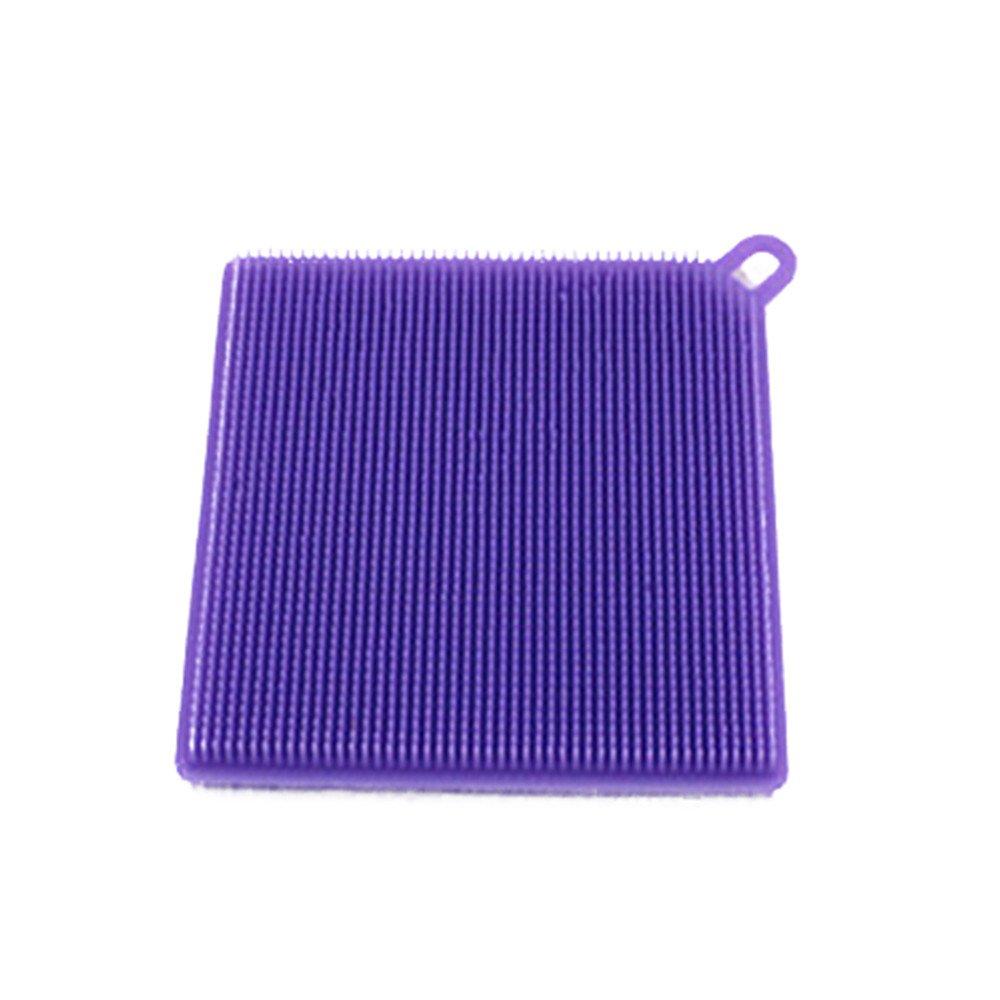 Digood 1Pcs Antibacterial Silicone Non Stick Dishwashing Brush Sponge Scrubber Towel For Kitchen Wash Pot Pan Dish Bowl Fruit and Vegetable Cleaning Tool (Purple)