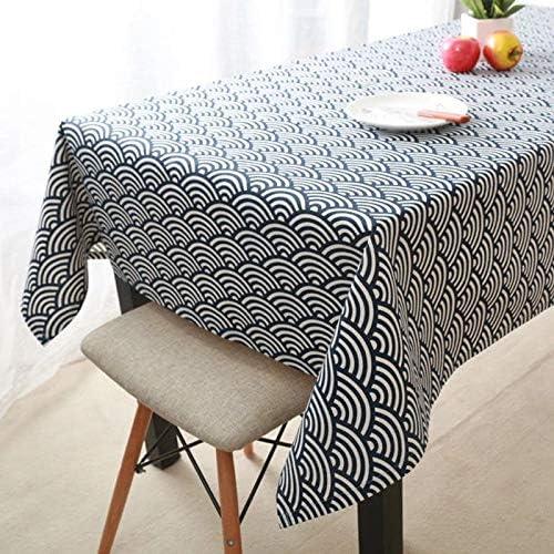 QIGE Manteles Rectangular Mantel Algodón Mantel De Lino Mantel Qinghai Wave Wave Desk Mantel 140 * 140Cm (Mesa Cuadrada Común/Mesa Redonda) Y Modelos De Olas De Viento: Amazon.es: Jardín