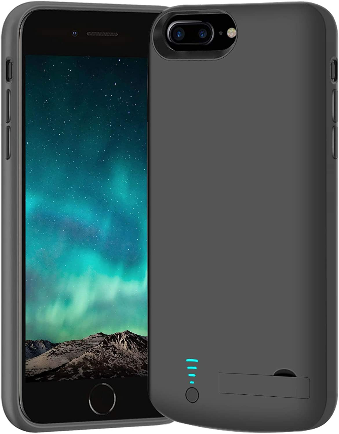 BAHOND Battery Case for iPhone 8 Plus/7 Plus/6S Plus/6 Plus, 8000mAh Rechargeable Extended Battery Charging Charger Case, Add 2X Extra Juice, Support Wire Headphones (5.5 inch)