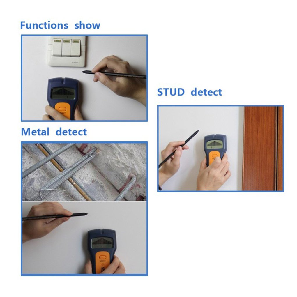 Topker TS79 3 en 1 Detector Localizador de montantes de madera de alambre de metal de voltaje CA Live Wire Detectar pared Buscador de escáner con pantalla ...
