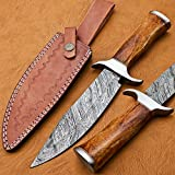 BK-3006 Handmade Damascus Steel 12.00 Inches Damascus Steel Bowie Knive – Camel Bone Brass Spicer Handle with Steenless Steel Gurd/Pommel For Sale