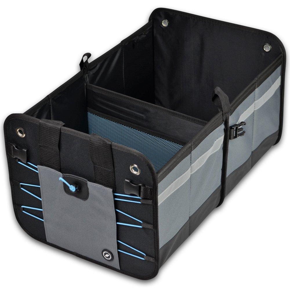 GLOBEPROOF Kofferraum-Tasche | PKW-Klapp-Box ideal als Faltbox-Einkaufskorb & Auto-Organizer | XXL & ultrastark in edlem Schwarz-Grau mit 50 Liter Volumen (32x38x60cm) (Blau)