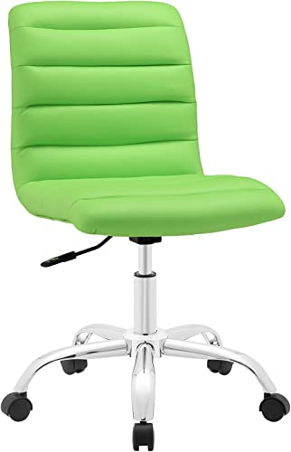 Modway Ripple Ribbed Armless Mid Back Swivel Computer Desk Office Chair In Bright Green