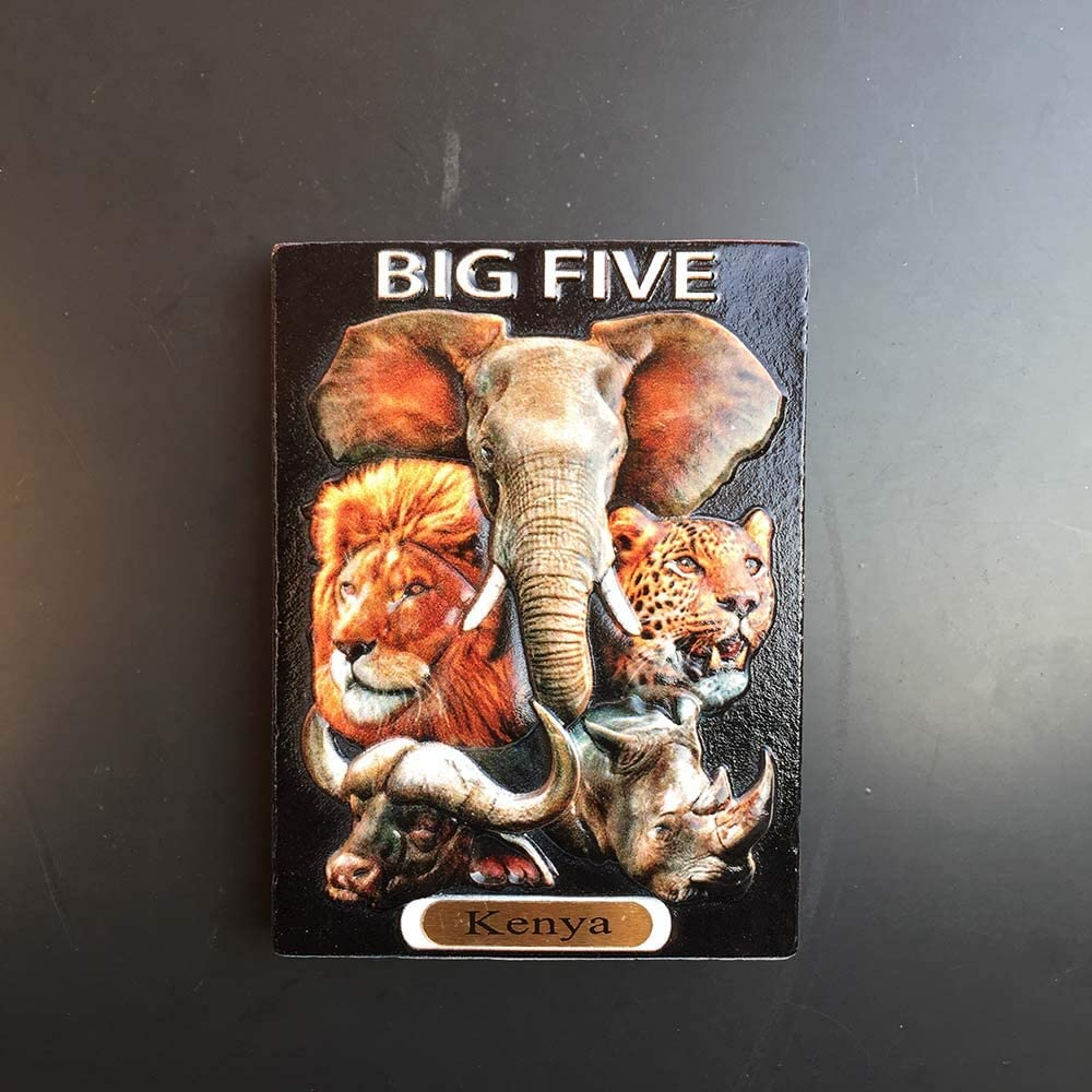 Kenya 3D Big Five Animals Refrigerator Magnet Souvenirs Handmade Resin Magnetic Stickers Home Kitchen Decoration,Kenya Fridge Magnet Collection Gift