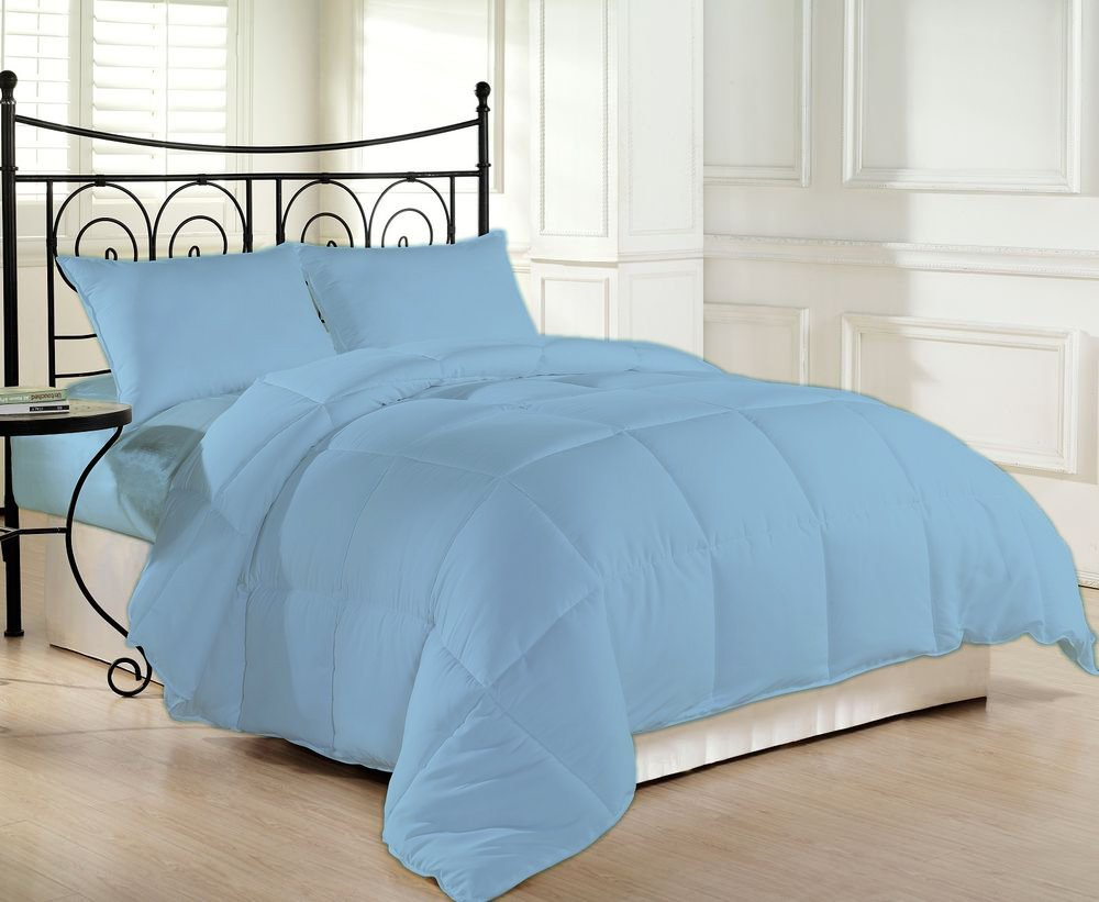 1200 Thread Count Luxurious and Hypoallergenic 100% Egyptian Cotton Down Comforter Light Blue King By Kotton Culture Solid (Cocoon Feel 200 GSM Summer Weight Microfibre filling)
