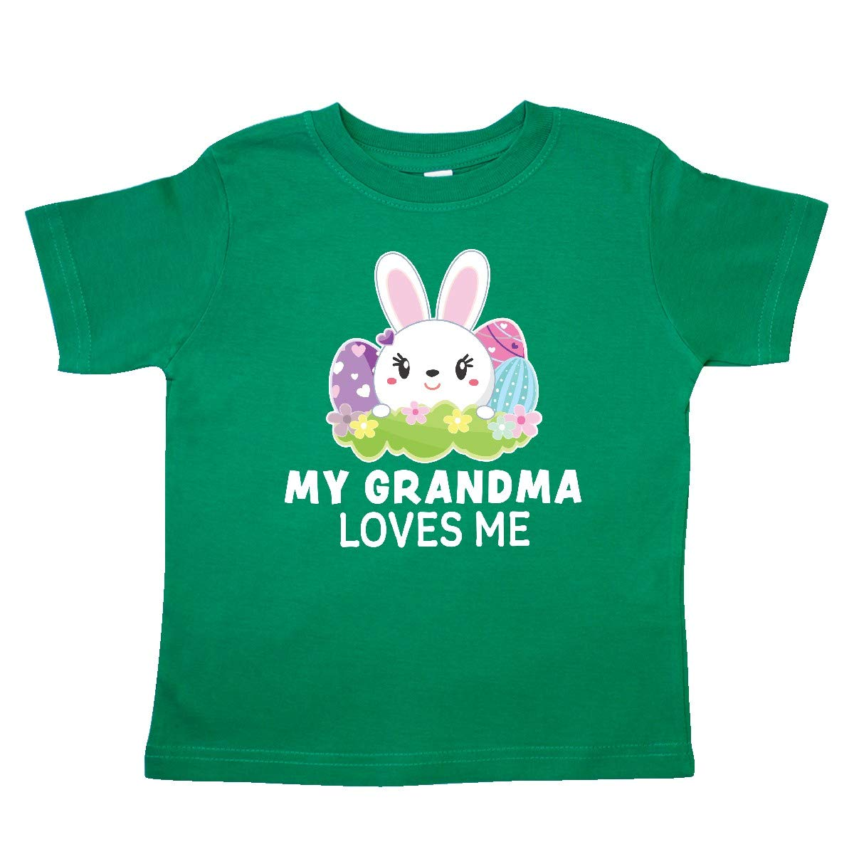 inktastic My Grandma Loves Me with Bunny and Easter Eggs Toddler T-Shirt