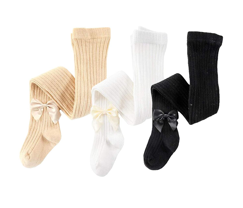 Baby Toddler Girls Princess Knit Leggings Kids 3-Pack Cotton Bowknot Tights Stocking Pants
