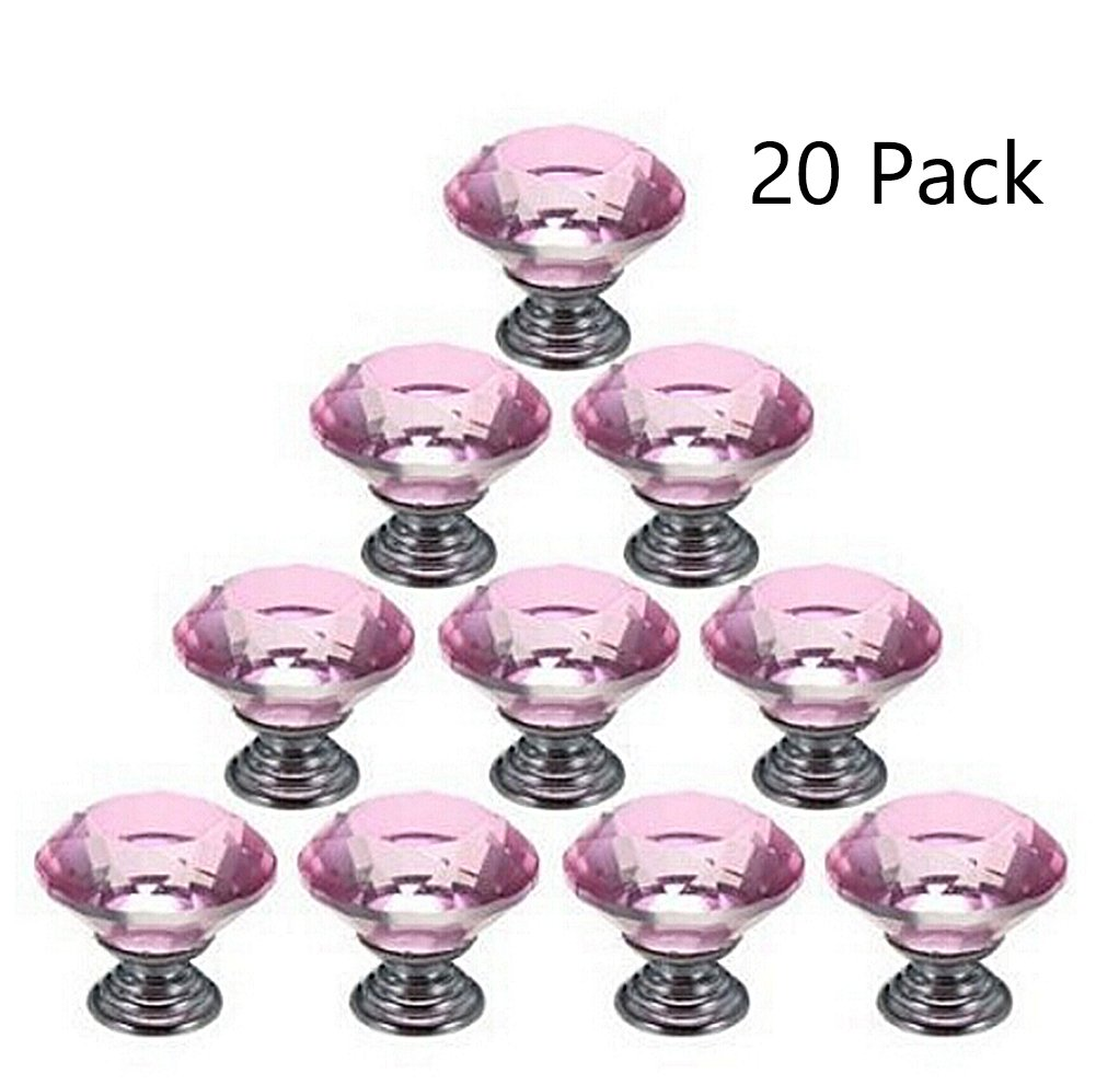 Magik 20Pcs Crystal Glass Cabinet Knob Diamond Shape 30mm Drawer Cupboard Handle Pull (Pink)