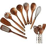 Wooden Kitchen Utensils set With Utensil Holder,NAYAHOSE Wooden Spoons for cooking Natural Teak Wood Kitchen Spatula Set…