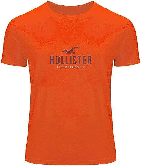 DIY Hollister - Camiseta de manga corta estampada para hombre Naranja naranja XXX-Large: Amazon.es: Ropa y accesorios