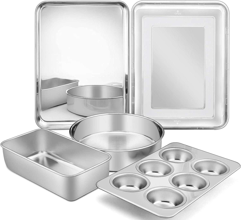6-Piece Bakeware Kitchen Set, P&P CHEF Stainless Steel Bakeware Pans Sets, Including Baking Pan/Round Cake Pan/Muffin Pan/Loaf Pan/Deep Lasagna Pan & Lid, Non-toxic & Durable, Dishwasher Safe