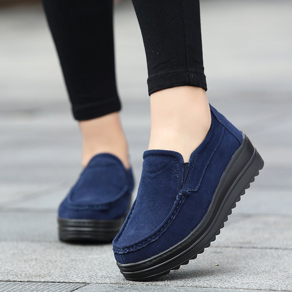 Amazon.com | HKR-HC-329shenlan36 Womens Platform Shoes Slip On Suede Loafers Casual Driving Moccasins Dark Blue 6 W US | Walking