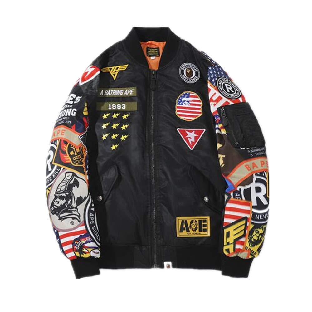 1f6f3a1708e Amazon.com  DuoLu Bape Fashion Printed Loose Jacket Baseball Uniform Coat  for Men  Clothing