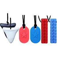 Chew Necklace by GNAWRISHING - 6-Pack ( Dog Tag, Shark and Building  Block)- Perfect for Autistic, ADHD, SPD, Oral Motor…