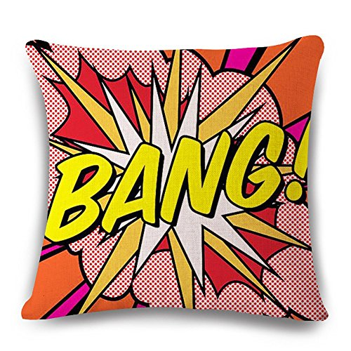Easternproject Super Hero Throw Pillow Case Cushion Cover Comic Book Exclamation Pattern Decorative Square 18x18 Inch Pillowcase Best Gift (BANG 01) -