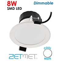 8W SMD LED Dimmable White Ceiling Spotlight Outdoor Soffit Downlight Cool White IP44