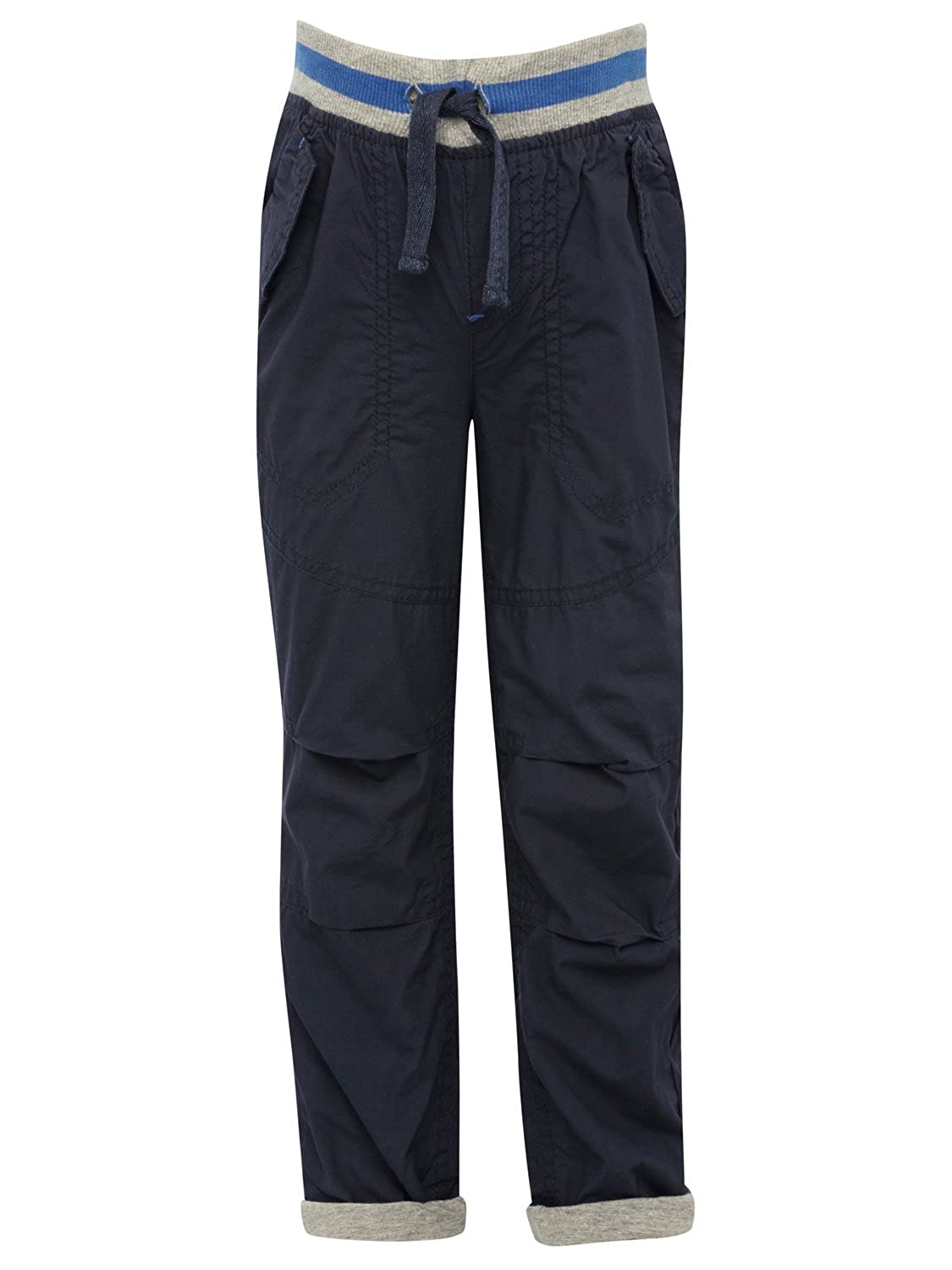 M& Co Boys Full Length Cotton Lined Plain Poplin Casual Trousers with Pockets