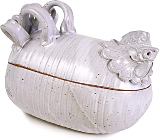 product image for Sculpted Chicken Covered Cooker/Oven Roaster, American Handmade Stoneware Pottery