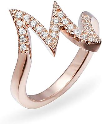 Plata de Ley daesar anillos boda bandas para las mujeres letra M circonita oro rosa Tamaño 8: Amazon.es: Joyería