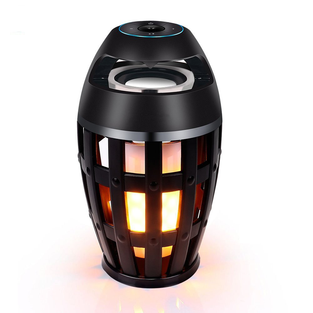 JOYCAM Wireless LED Bluetooth Speaker Portable Camping Flame Outdoor Table Lamps with Torch Atmosphere Night Light Decoration Gift