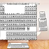 Nalahome Bath Suit: Showercurtain Bathrug Bathtowel Handtowel Periodic Table Monochrome Simple Science Chemistry Elements Students Class Image Black and White