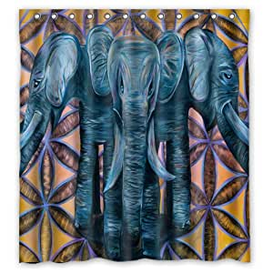 """POOKOO """"Elephant Art"""" Personalized Custom 66"""" x 72"""" Waterproof Polyester Fabric Shower Curtain"""