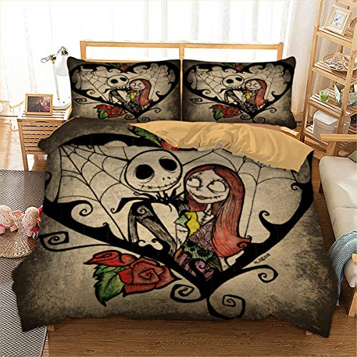 Nightmare Before Christmas Duvet Cover Set 3D Printed Skull Bedding Duvet Cover with Zipper Closure and 2 Pillowcases for Kids Teens Adults Queen -