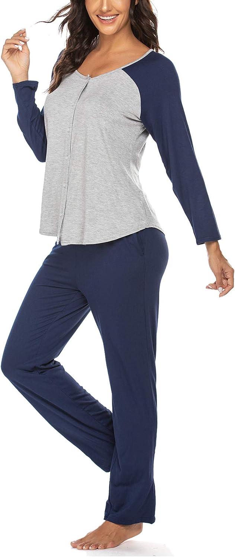 Damen Schlafanzug Lang Zweiteilige Pyjama Set mit Durchgehender Knopfleiste Schlafanzug Oberteil f/ür Stillen und Lange Pyjama Hosen