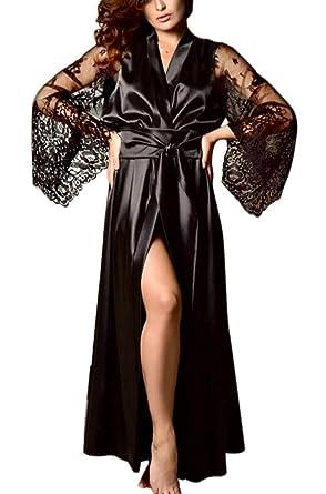 c571f2e5d2a UNBRUVO 2019 Bodysuit for Women Satin Long Nightdress Silk Lace Lingerie  Nightgown Sleepwear Sexy Robe Black