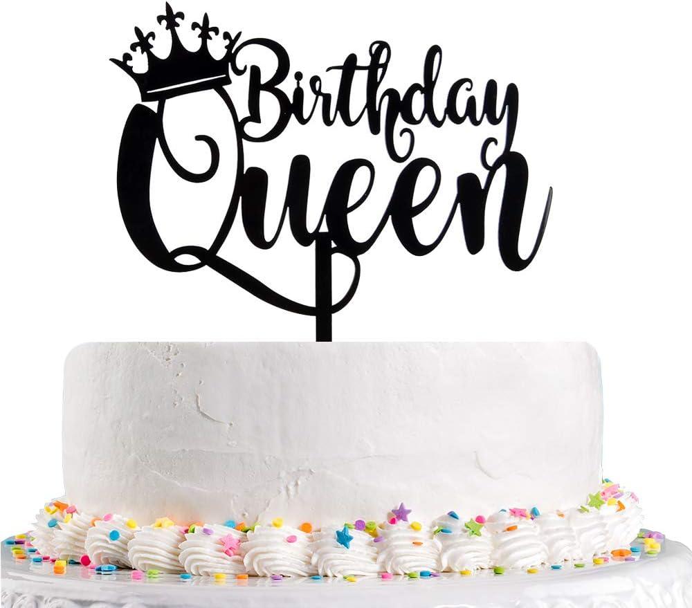 Fabulous Amazon Com Queen Birthday Cake Topper Black Happy Birthday Cake Funny Birthday Cards Online Fluifree Goldxyz
