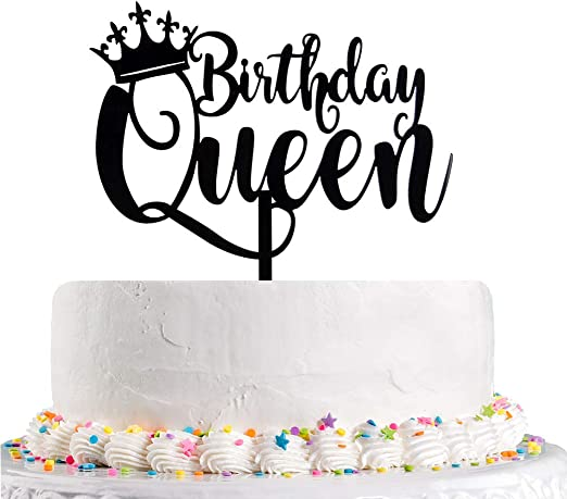 Amazon Com Queen Birthday Cake Topper Black Happy Birthday Cake Topper 16th 18th 21st 30th 40th 50th 60th 70th 80th 90th 100th Cake Toppers Birthday Party Decoration Kitchen Dining
