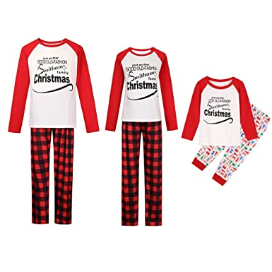 446339377a12 Matching Family Sleepwear Christmas ELF Printing Letters Pajamas Set ...