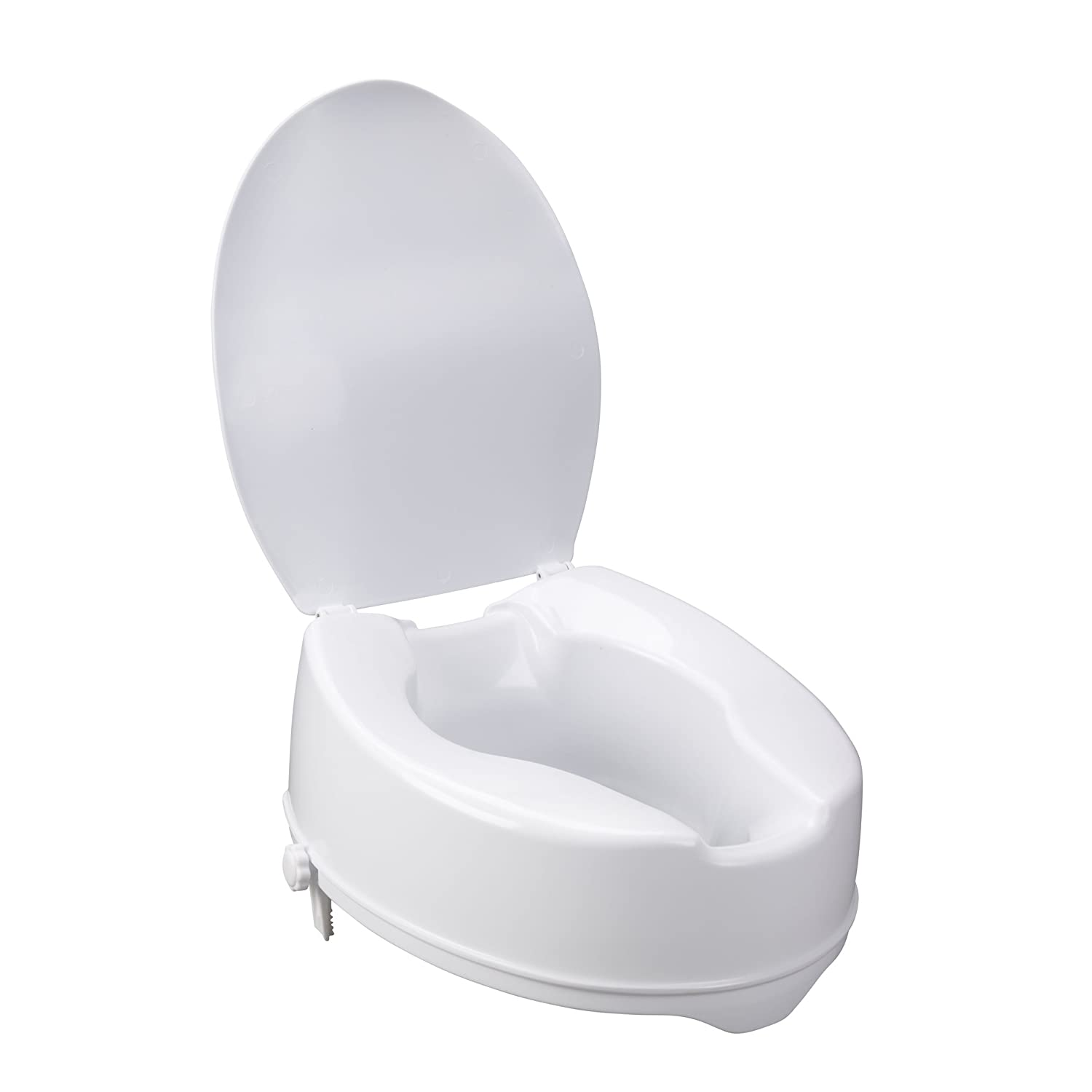 Drive Medical Raised Toilet Seat with Lock and Lid, Standard Seat, 4 4 12065