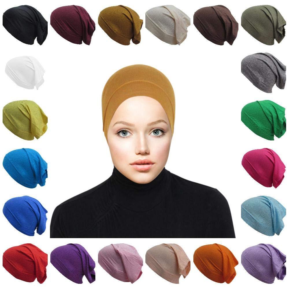 20-Pack Jersey Hijab Tube Underscarf Caps Muslim Women Bonnet Cap Under Scarves Inner Hijab Accessories