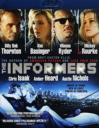 Movie poster for The Informers, starring Billy Bob Thornton, Kim Basinger, Winona Ryder, Mickey Rourke, Chris Isaak, Amber Heard and Austin Nichols