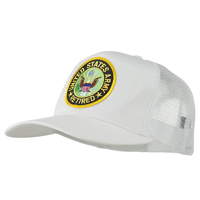 56e83db4ca5 E4hats US Army Retired Circle Patched Mesh Cap - White OSFM at ...