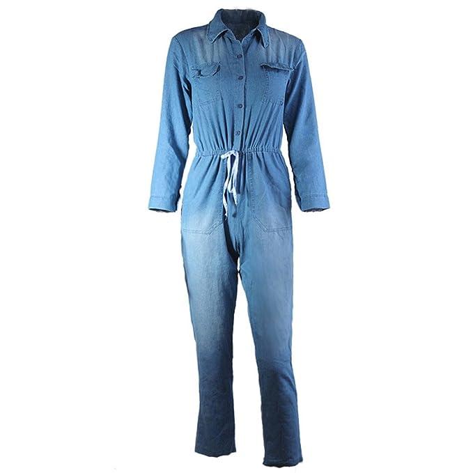 5536cb99bdbb YYF Women s Denim Plus Size Bodycon Lace-up Jumpsuit Deep V Neck Long  Sleeve Elastic Waist Jeans  Amazon.co.uk  Clothing