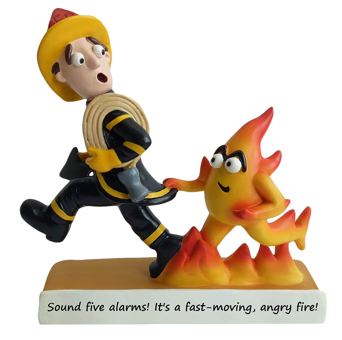 Case Creations Gifts – Hand Painted 7.5 Inch Sculpture Statue – Firefighter Gift Angry Fire Firefighter