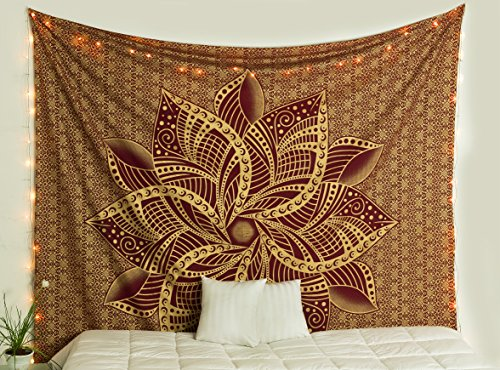 Popular Handicrafts Kp924 Large Moon Ombre Gold Tapestry Indian Mandala Wall Art Hippie Wall Hanging Bohemian Bedspread Multi Purpose Tapestries 84x90 Inches, Maroon and Gold