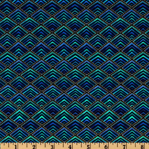 Timeless Treasures Plume Diamonds Black/Blue Fabric By The Yard