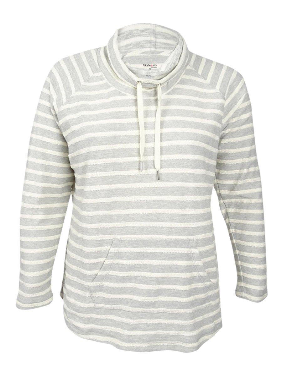 Style & Co. Womens Plus Striped Cowl Neck Sweatshirt Gray 0X