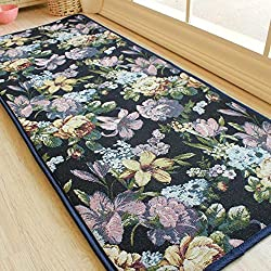 Soft Blue Lilies Pastoral Style Rug for Kitchen Bathroom, Beautiful Floral Anti-skid Bedside Runner Rug 19 by 47 Inch by MAXYOYO