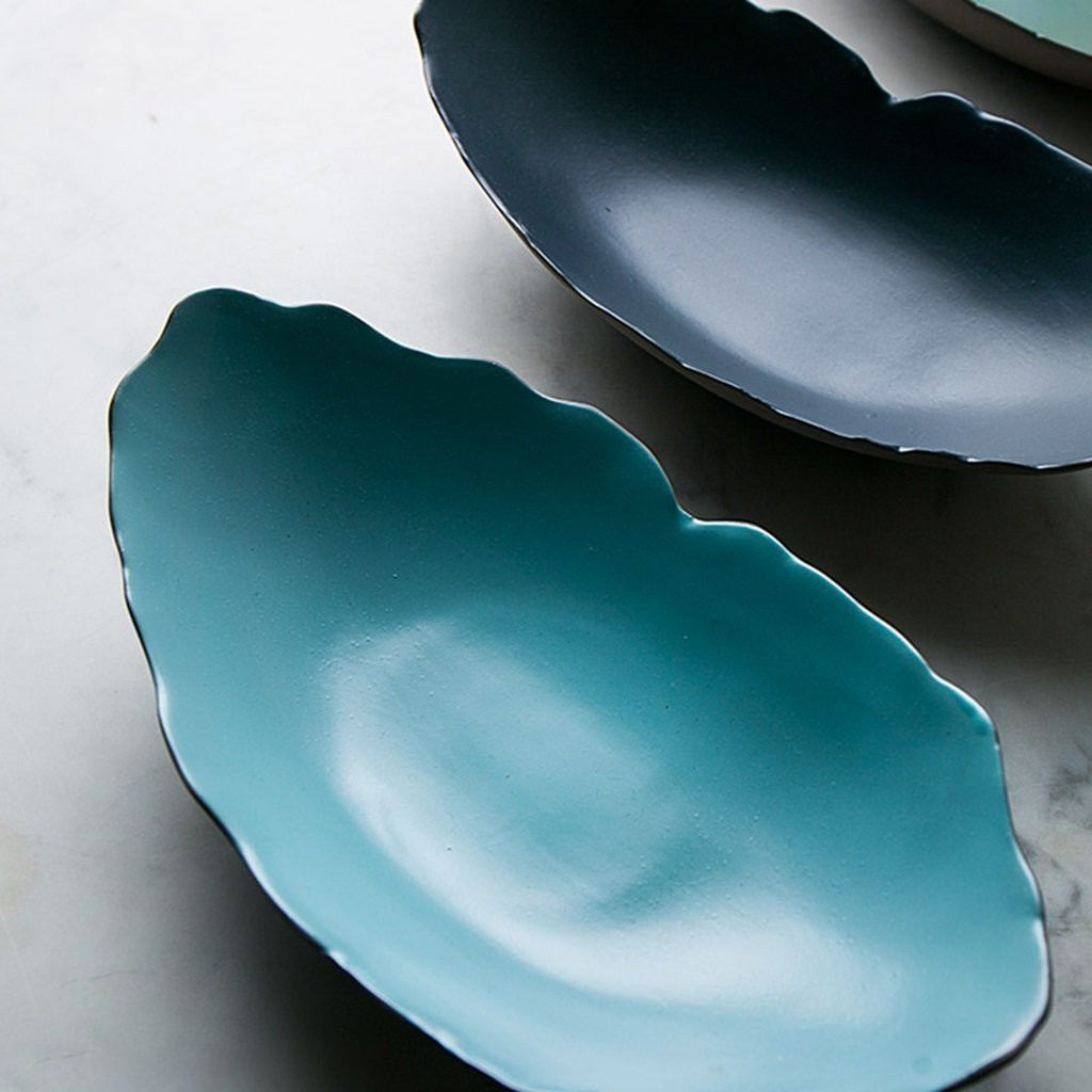 He Xiang Ya Shop Japanese style ceramic plate blue breakfast plate fruit salad plate long fish dish home soup plate by He Xiang Ya Shop (Image #3)