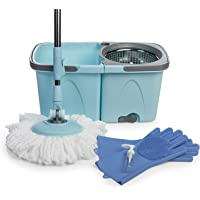 SoftSpin Spin Mop and Bucket – 2 Stage Floor Mop System with Built-in Detergent Dispenser Separates Clean and Dirty Water to Get Floors Cleaner (Blue)