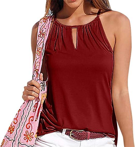 FuweiEncore Blusas y Tops para Mujer Moda para Mujer Chaleco con Tiras de Verano Top Sin Mangas Camisa Blusa Casual Tank Tops (Color : Vino Rojo, tamaño : Large): Amazon.es: Hogar